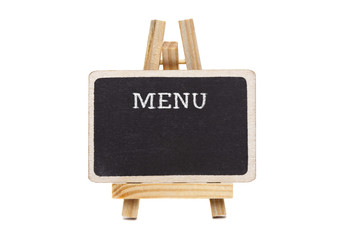 Blackboard with wooden frame and Menu title