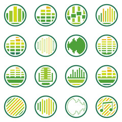 Sound or music round icons vector set
