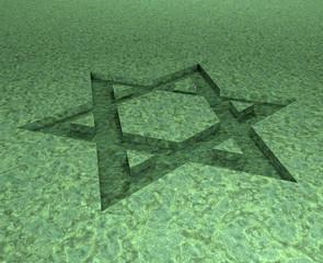stylized image Star of David made in stone malachite