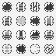 Soundwave or equalizer round icons set
