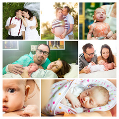 Composition of life of a young couple and arrival of their baby