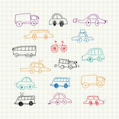 Cars doodles set