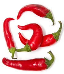 red hot peppers on white