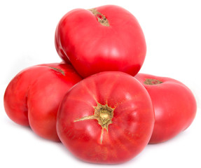 large red tomatoes on white