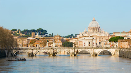 Rome - Angels bridge and St. Peter s basilica in morning