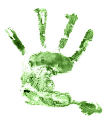 Children green hand print isolated on white background.  palm