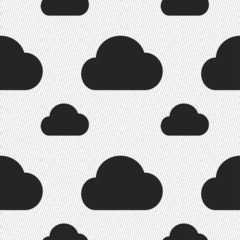 cloud icon sign. Seamless pattern with geometric texture. Vector
