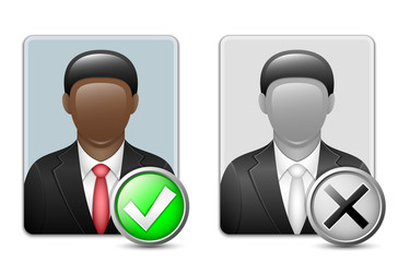 Black man user icons. Vector
