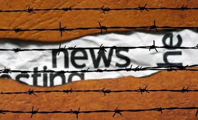News concept and barbwire