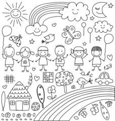 childlike drawings set