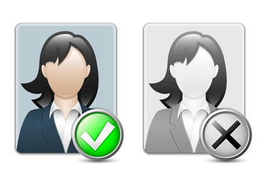 Female user icons. Vector