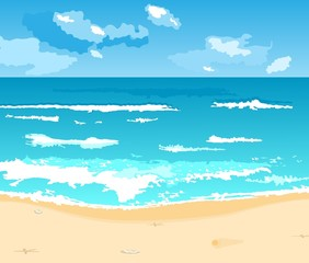 Illustration beautiful summer background with beach