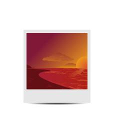 Photoframe with sunset beach background