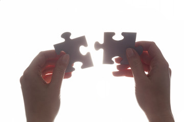 Joining two pieces of jigsaw puzzle. Solution, business.