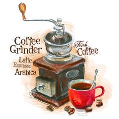 fresh coffee vector logo design template. grinder or espresso