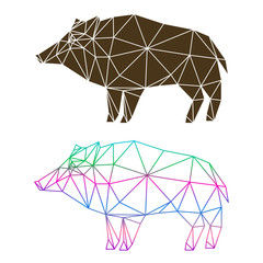 Abstract geometric wild boar set isolated on white background