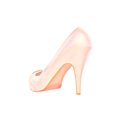 Pink high heel women shoe.