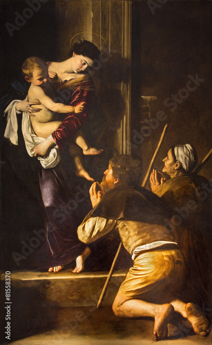 Foto op Canvas Rome Rome - Madonna of Loreto and pilgrims paint by Caravaggio