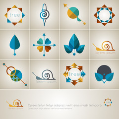 set of logos on the theme of peace and nature
