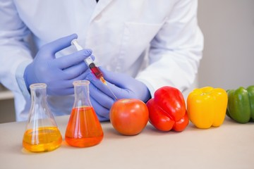 Scientist injecting vegetables