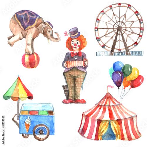 Watercolor Circus Set - 81559363