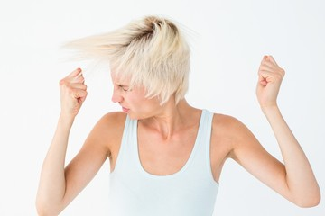 Angry woman shaking her head
