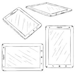 Vector Set of Sketch Tablet PC