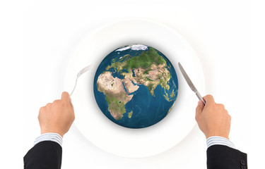 World globe ball with fork and knife, Elements of this image fur