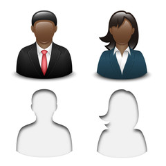 Black male and female user icons. Vector