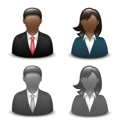 Avatars of black male and female in business suits. Vector