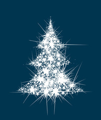 Vector abstract Christmas tree stars shape.