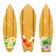 wooden surfboards with floral prints