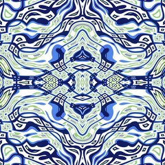 Seamless kaleidoscope texture or pattern in blue and green
