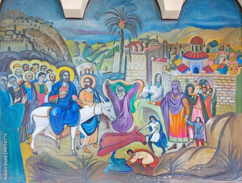 Fototapeta Bethlehem - fresco of Palm Sunday in Syrian orthodox church