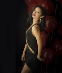 Beautiful  woman black dress  party