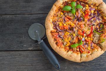 Homemade italian vegetarian pizza