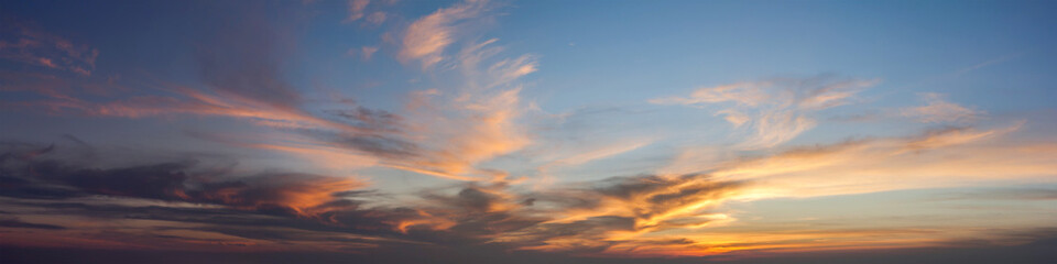 Sun set sky with cloud, panoramic image.