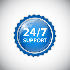 Vector 24/7 SUPPORT Sign, Label Template
