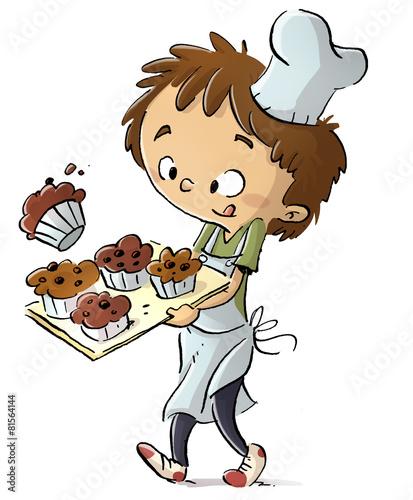 Foto op Plexiglas Snoepjes niño cocinero con pasteles