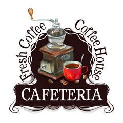 cafeteria logo design template. fresh coffee or cappuccino icon.