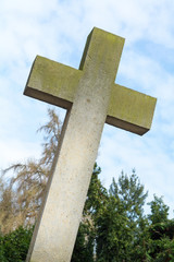 great cross from concrete, symbol for Christianity
