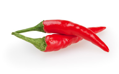 Chili peppers isolated on white background with clipping path