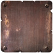 Rusty torn metal plate with bolts isolated - 81566162