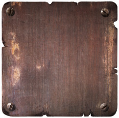 Rusty torn metal plate with bolts isolated