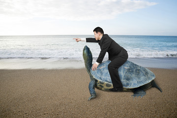 Businessman riding turtle and indicating with finger at sand bea