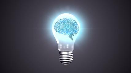 Light bulb with revolving brain