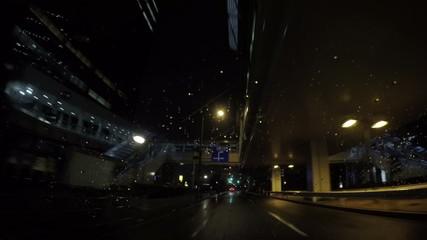 Rain traffic at twilight