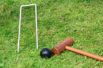Croquet equipment on ground
