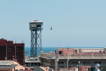 Ropeway over city. Barcelona, Spain