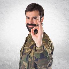 Soldier making Ok sign
